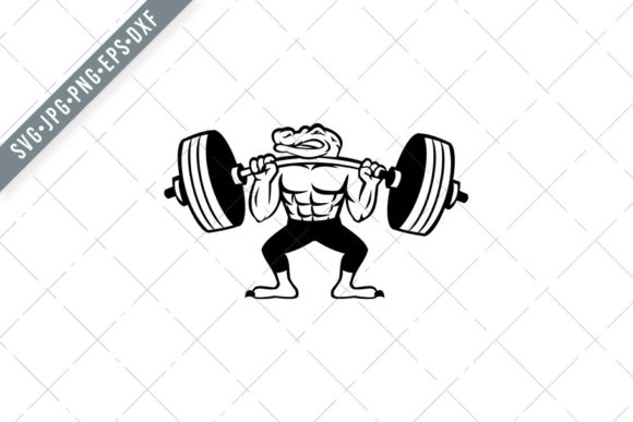 Print on Demand: Alligator Weightlifter Graphic Illustrations By patrimonio