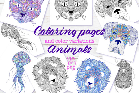 Animals - Coloring Pages Graphic Coloring Pages & Books Adults By fatamorganaoptic - Image 1