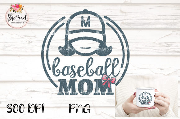 Download Free Baseball Mom Distressed Clipart Graphic By Shepixel Creative for Cricut Explore, Silhouette and other cutting machines.