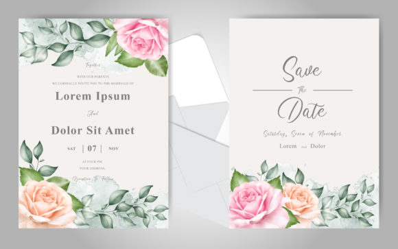 Print on Demand: Beautiful Wedding Invitation Cards Set Graphic Print Templates By FederiqoEND