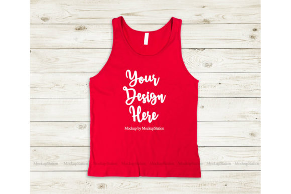 Print on Demand: Bella Canvas 3480 Red Tank Top Mockup Graphic Product Mockups By Mockup Station