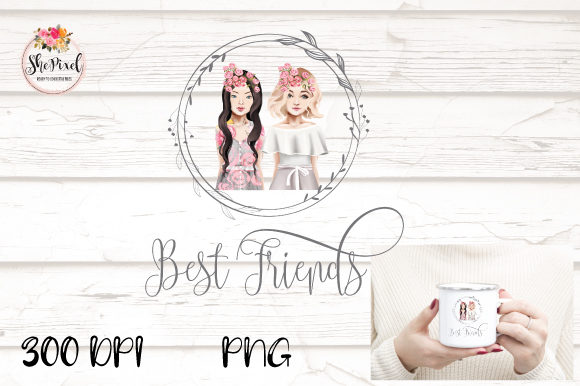 Download Free Best Friends Clipart Design Graphic By Shepixel Creative Fabrica for Cricut Explore, Silhouette and other cutting machines.
