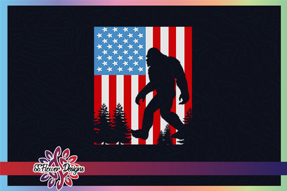 Bigfoot 4th of July American Flag Graphic Crafts By ssflower
