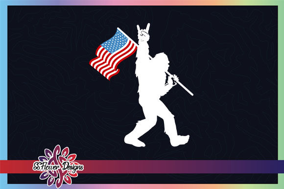 Download Free Bigfoot 4th Of July American Flag Graphic By Ssflower Creative SVG Cut Files