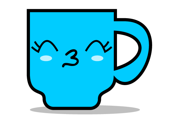 Download Free Blue Coffee Cup With A Funny Expression Graphic By Yapivector for Cricut Explore, Silhouette and other cutting machines.