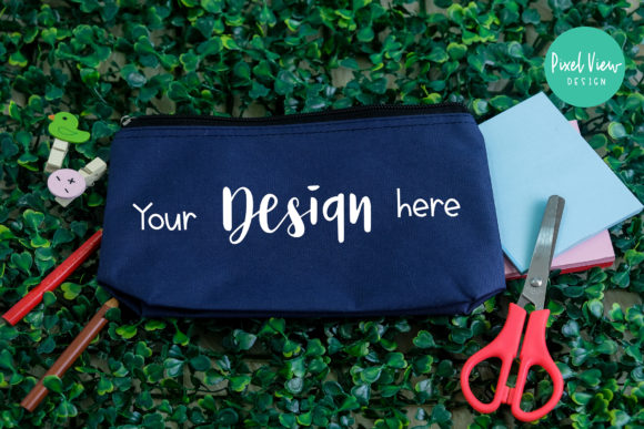 Print on Demand: Blue Pouch Mockup I School Graphic Product Mockups By Pixel View Design
