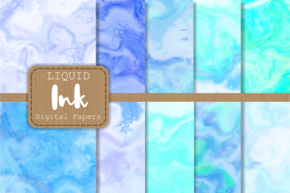 Download Free Blue Turquoise Liquid Ink Marble Papers Graphic By Prawny for Cricut Explore, Silhouette and other cutting machines.