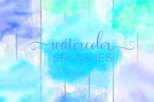 Print on Demand: Blue Turquoise Watercolor Wash Splashes Graphic Backgrounds By Prawny 1
