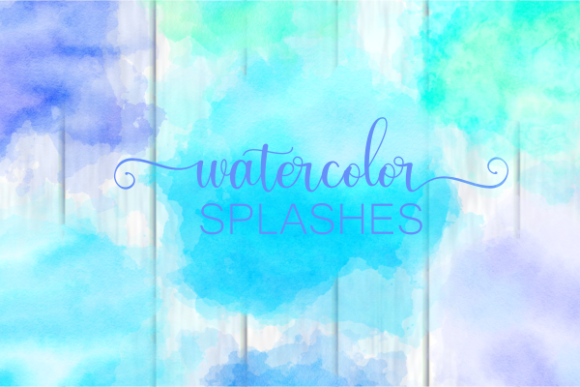 Print on Demand: Blue Turquoise Watercolor Wash Splashes Graphic Backgrounds By Prawny