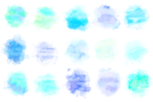 Print on Demand: Blue Turquoise Watercolor Wash Splashes Graphic Backgrounds By Prawny 4