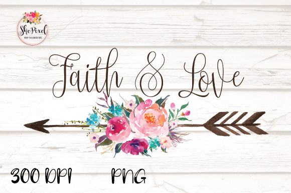 Print on Demand: BoHo Arrow Faith & Love Clipart Graphic Illustrations By Sublimation Hut