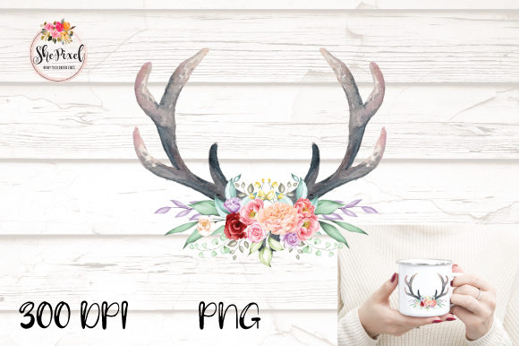 Download Free Boho Antlers Watercolor Clipart Graphic By Shepixel Creative for Cricut Explore, Silhouette and other cutting machines.