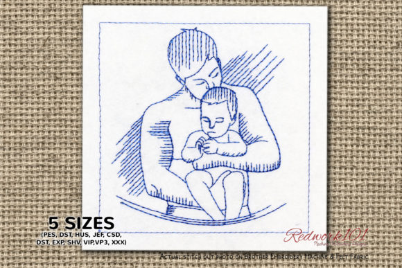 Boy and Father Father's Day Embroidery Design By Redwork101