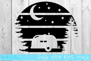 Download Free Camping Moon Sign Graphic By Whistlepig Designs Creative Fabrica for Cricut Explore, Silhouette and other cutting machines.