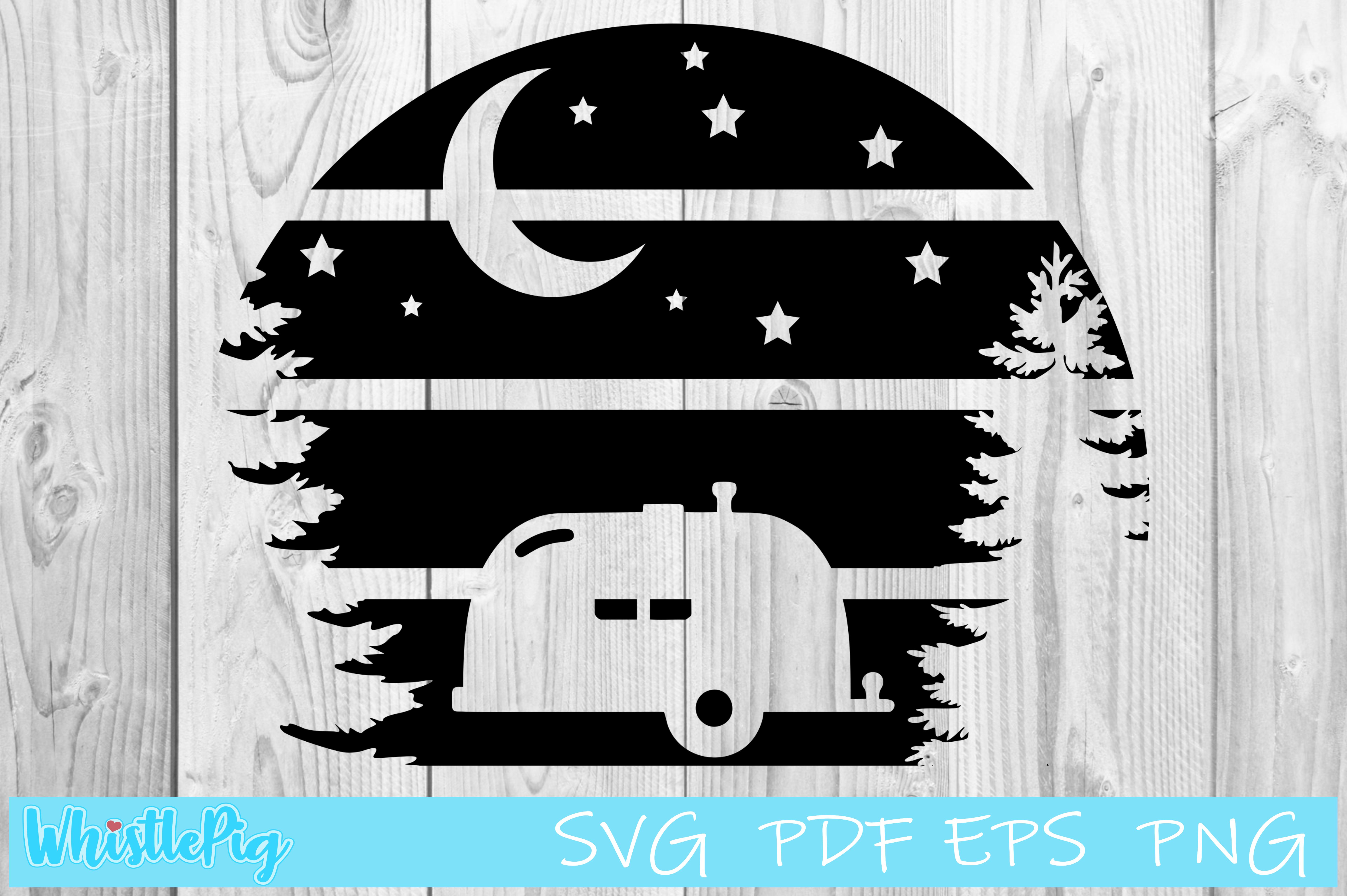 Camping Moon Sign SVG File