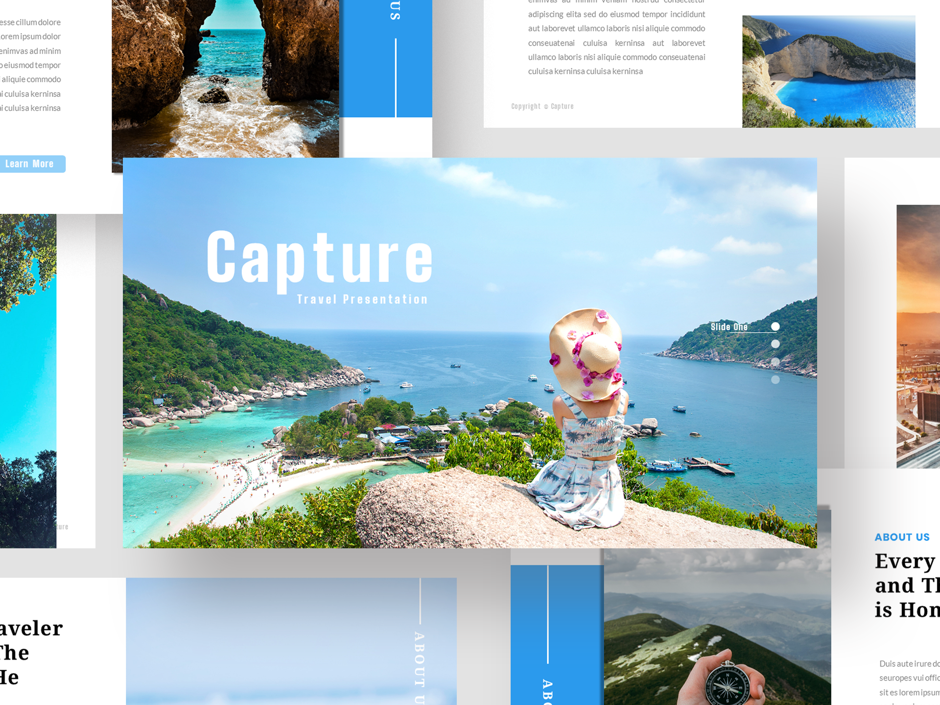 Download Free Capture Travel Presentation Template Graphic By Jk Creative for Cricut Explore, Silhouette and other cutting machines.