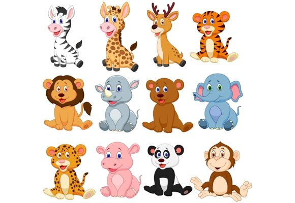 Download Free Cartoon Baby Animals Clipart Set Graphic Graphic By Tigatelusiji for Cricut Explore, Silhouette and other cutting machines.