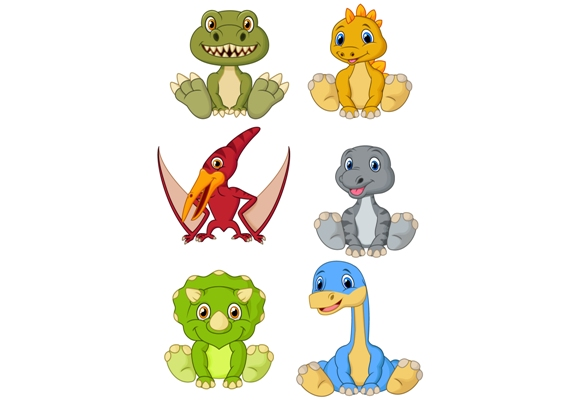 Download Free Cartoon Baby Dinosaurs Clipart Set Graphic By Tigatelusiji for Cricut Explore, Silhouette and other cutting machines.