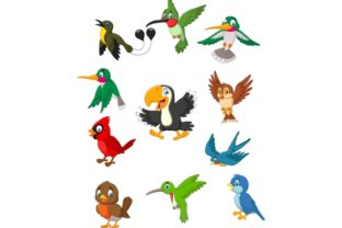 Download Free Cartoon Birds Clipart Set Graphic Graphic By Tigatelusiji for Cricut Explore, Silhouette and other cutting machines.