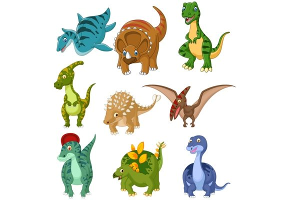 Cartoon Dinosaurs Clipart Set Graphic Graphic Illustrations By tigatelusiji