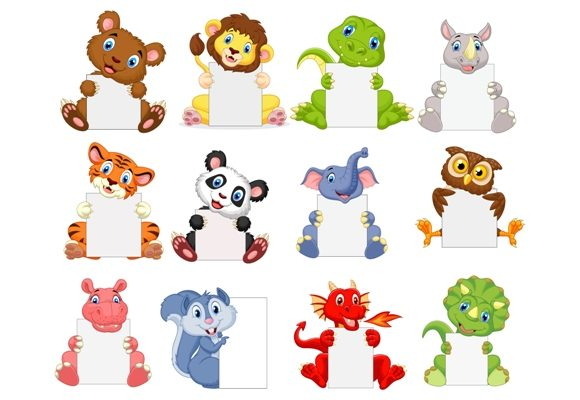 Download Free Cartoon Wild Animals Clipart Set Graphic Graphic By Tigatelusiji for Cricut Explore, Silhouette and other cutting machines.