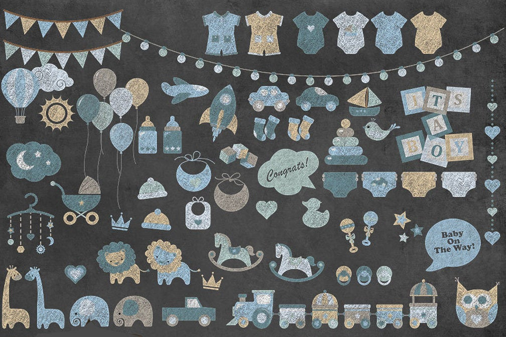Download Free Chalkboard Blue Baby Clipart Graphic By Digital Curio Creative for Cricut Explore, Silhouette and other cutting machines.
