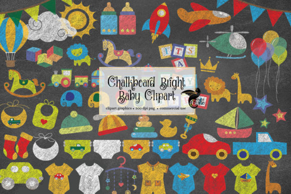 Print on Demand: Chalkboard Bright Baby Clipart Graphic Illustrations By Digital Curio