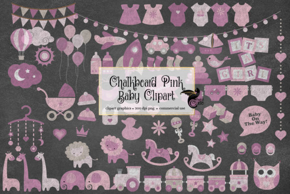 Print on Demand: Chalkboard Pink Baby Clipart Graphic Illustrations By Digital Curio