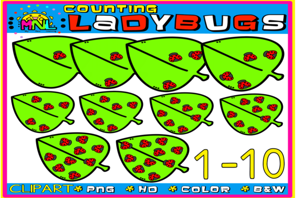 Download Free Counting Ladybugs Clip Art Graphic By Ziza Mariposa Creative for Cricut Explore, Silhouette and other cutting machines.