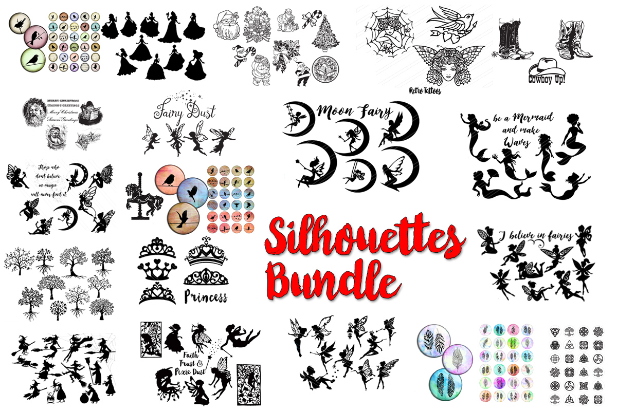 Download Free Cute Silhouettes Bundle Bundle Creative Fabrica for Cricut Explore, Silhouette and other cutting machines.