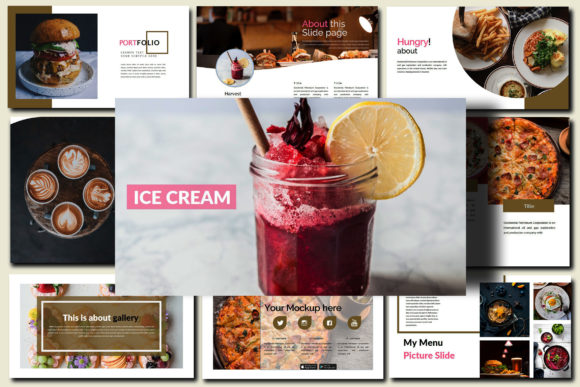 Print on Demand: Delicious Food - Creative Powerpoint Graphic Presentation Templates By Mindtype Co.