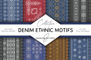 Denim Ethnic Cross Stitch Embroidery Graphic Patterns By digitalEye