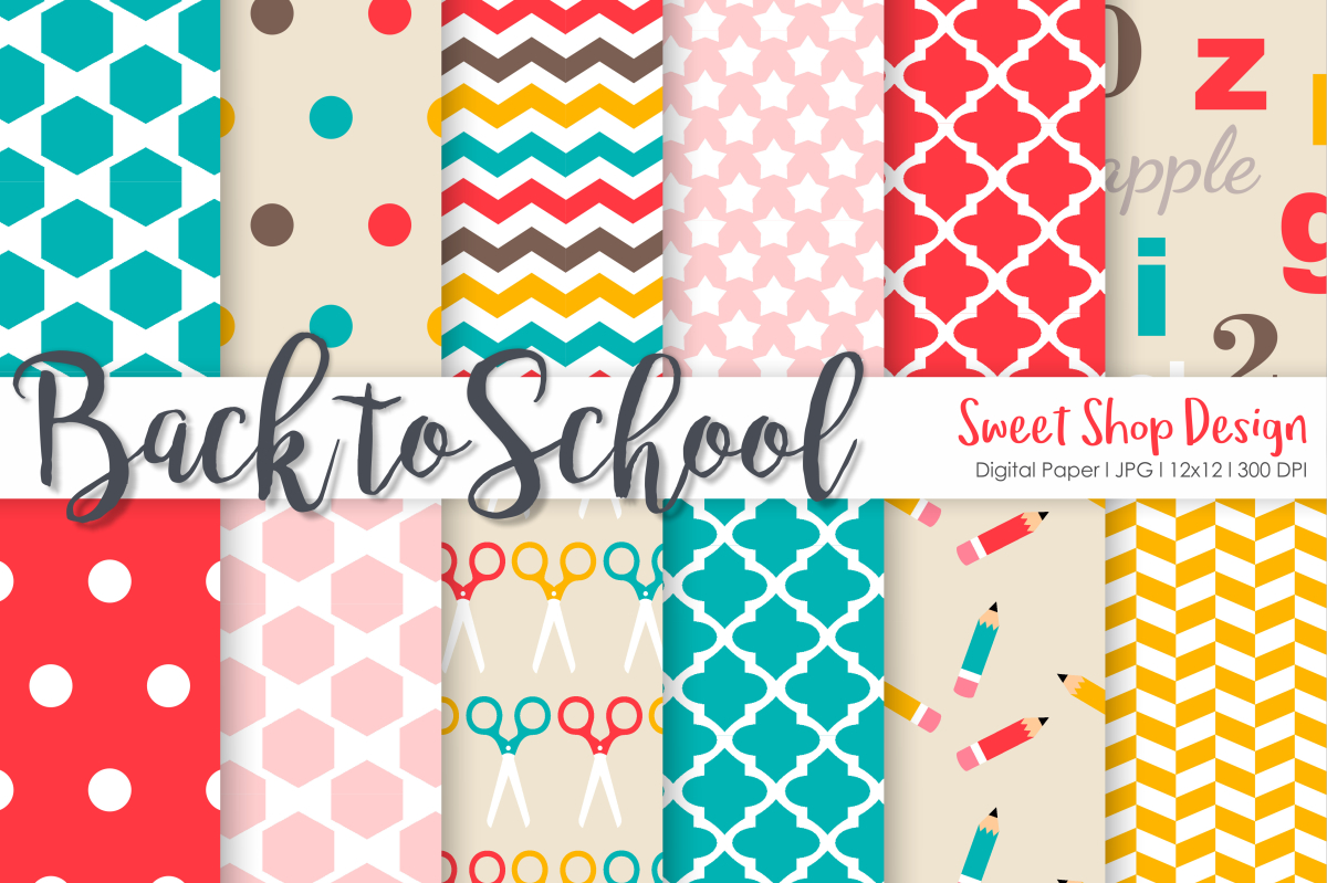 Download Free Digital Paper Back To School Set Of 12 Graphic By Sweet Shop for Cricut Explore, Silhouette and other cutting machines.