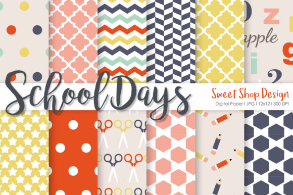Digital Paper School Days Set of 12 Graphic Patterns By Sweet Shop Design