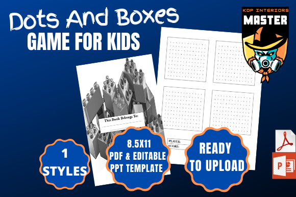 Download Free Dots And Boxes Puzzle Book For Kids Graphic By for Cricut Explore, Silhouette and other cutting machines.