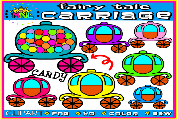 Download Free Fairy Tale Candy Carriage Clip Art Graphic By Ziza Mariposa for Cricut Explore, Silhouette and other cutting machines.
