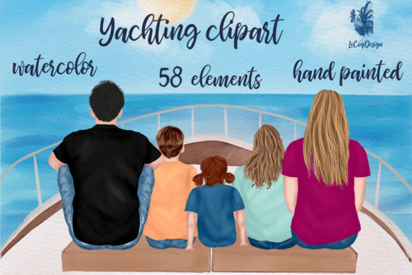 Family Clipart Vacation Clipart Yacht Graphic Illustrations By LeCoqDesign - Image 1