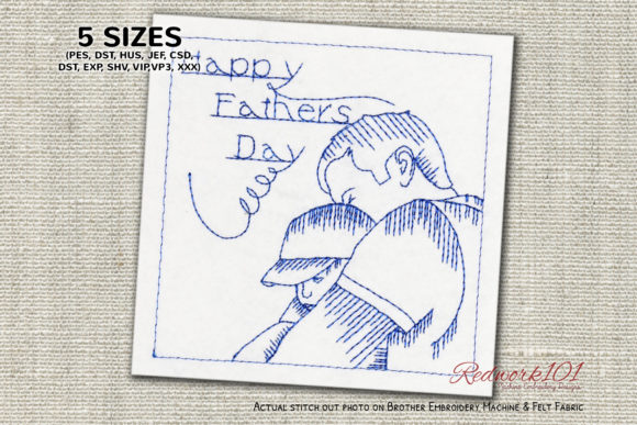 Father Holding Son Father's Day Embroidery Design By Redwork101