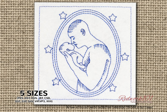 Father Kissing Boy Father's Day Embroidery Design By Redwork101