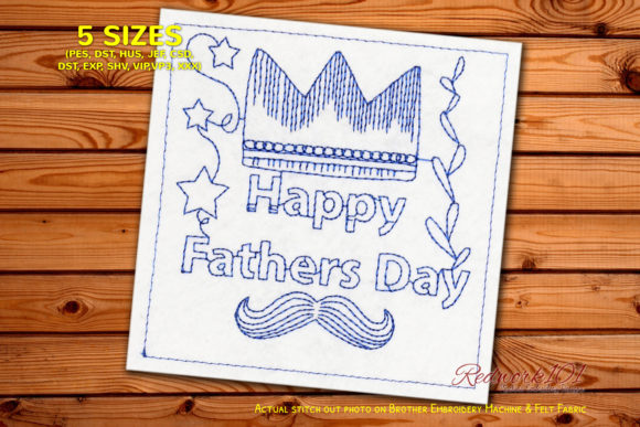 Fathers Day Crown Father's Day Embroidery Design By Redwork101