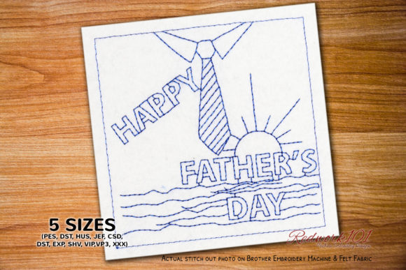 Fathers Day Father's Day Embroidery Design By Redwork101