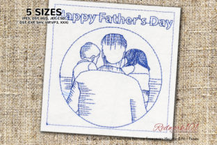 Father's Day Girl and Boy Father's Day Embroidery Design By Redwork101