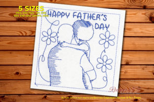Fathers Day Greetings Father's Day Embroidery Design By Redwork101