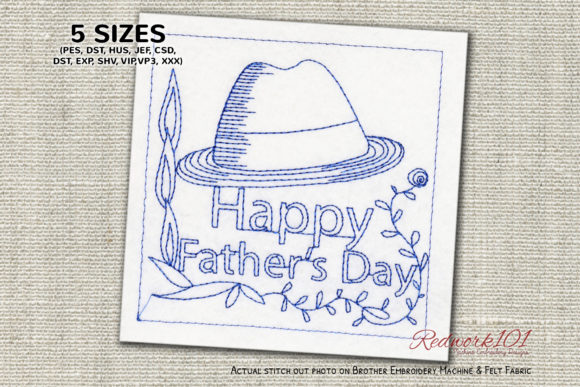 Fathers Day Hat Father's Day Embroidery Design By Redwork101