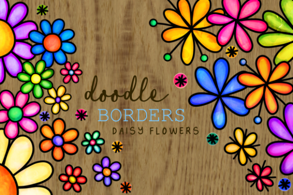 Floral Daisy Folk Art Ink Doodle Borders Graphic