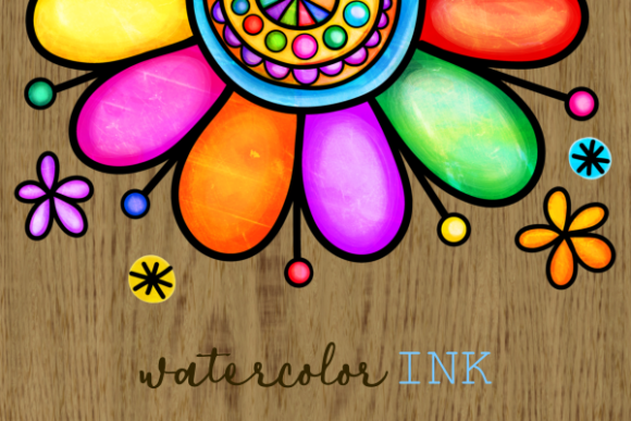 Print on Demand: Floral Daisy Folk Art Ink Doodle Borders Graphic Crafts By Prawny - Image 2