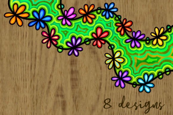 Floral Daisy Folk Art Ink Doodle Borders Graphic Preview