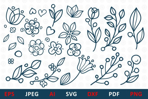Download Free Floral Elements For Monogram And Card Graphic By Millerzoa Creative Fabrica for Cricut Explore, Silhouette and other cutting machines.