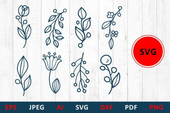 Download Free Floral Elements For Monogram And Card Graphic By Millerzoa SVG Cut Files