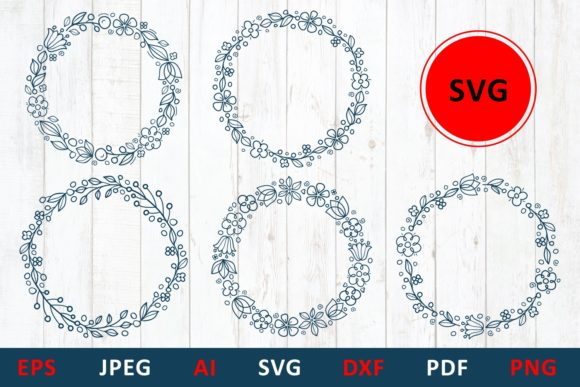 Print on Demand: Floral Wreath for Monogram and Mailbox Graphic Illustrations By millerzoa